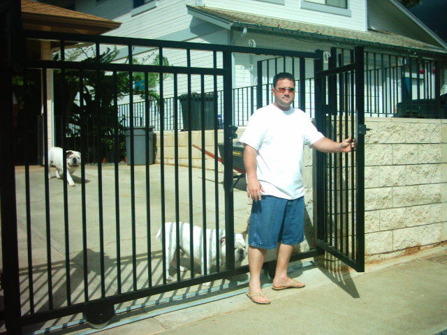 Stainless steel roll gate with walk gate inside
